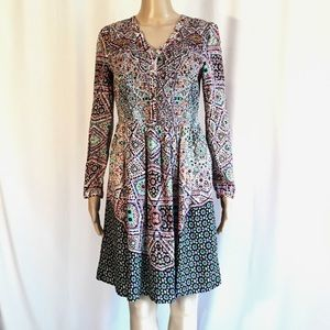 Anthropologie Maeve Multicolored Long Sleeve Dress